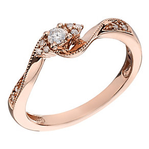 Cherished 9ct Rose Gold And Diamond Twist Solitaire Ring - Product number 2022478
