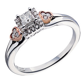 9ct White & Rose Gold Princess Cut Diamond Solitaire Ring - Product number 2022990