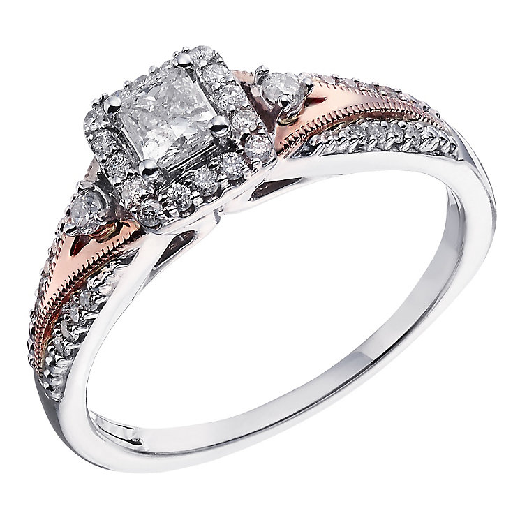 9ct White and Rose Gold Princess Cut Diamond Solitaire Ring - Product number 2023113