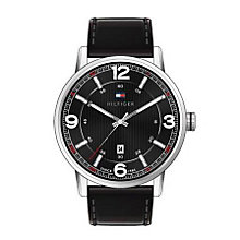 Tommy Hilfiger Men's Black Dial Black Leather Strap Watch - Product number 2023652