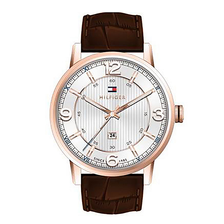 Tommy Hilfiger Men's Silver Dial Brown Leather Strap Watch - Product number 2023717