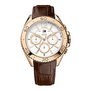 Tommy Hilfiger Men's White Dial Brown Leather Strap Watch - Product number 2023768