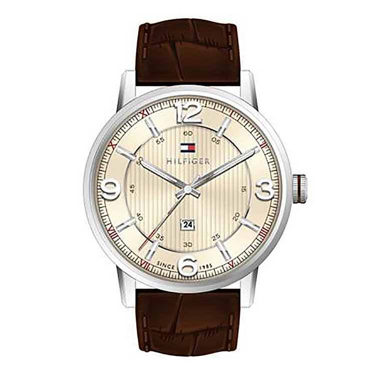 Tommy Hilfiger Men's Cream Dial Brown Leather Strap Watch - Product number 2023830