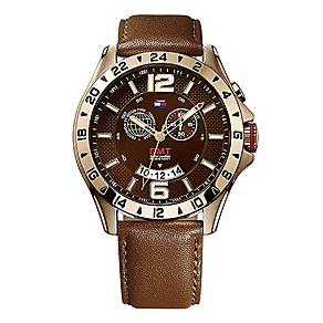 Tommy Hilfiger Men's Rose Gold Brown Leather Strap Watch - Product number 2024217