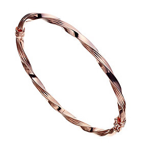 9ct Rose Gold Hinged Twist Design Bangle - Product number 2024497
