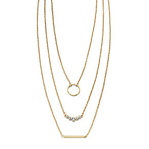Fiorelli Gold-Plated Triple Strand Cubic Zirconia Necklace - Product number 2024705