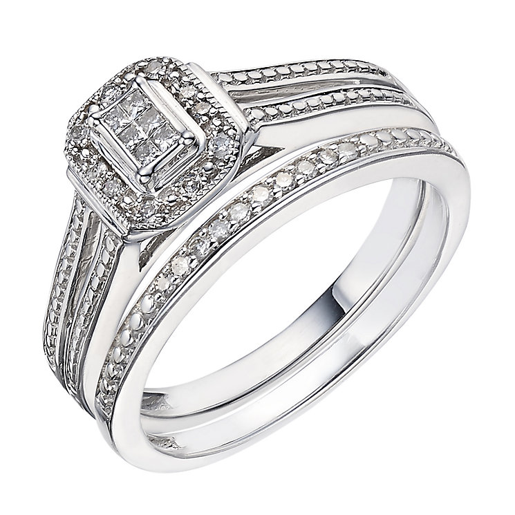 Perfect Fit 9ct White Gold 0.12 Carat Diamond Bridal Set - Product number 2025922