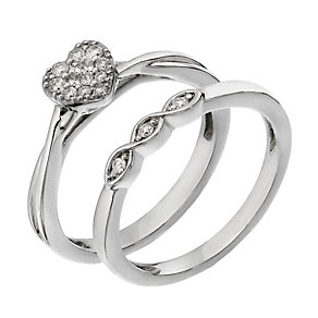 Perfect Fit 9ct White Gold Diamond Heart Cluster Bridal Set - Product number 2026112