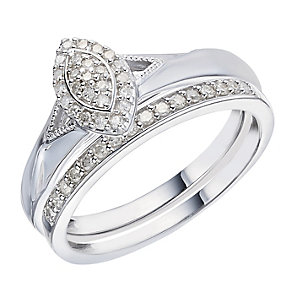 Perfect Fit 9ct White Gold 1/5 Carat Diamond Bridal Set - Product number 2026279