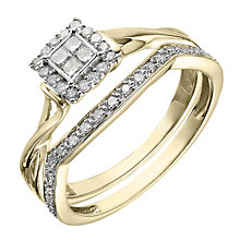 Perfect Fit 9ct Yellow Gold ¼ Carat Diamond Bridal Set - Product number 2026414