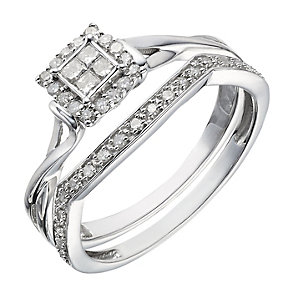 Perfect Fit 9ct White Gold ¼ Carat Diamond Bridal Set - Product number 2026554