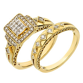 Perfect Fit 9ct Yellow Gold 2/5 Carat Diamond Bridal Set - Product number 2026945