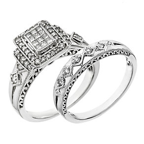 Perfect Fit 9ct White Gold 2/5 Carat Diamond Bridal Set - Product number 2027097
