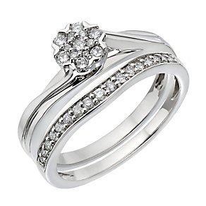 Palladium 1/3 Carat Diamond Flower Cluster Bridal Set - Product number 2027224