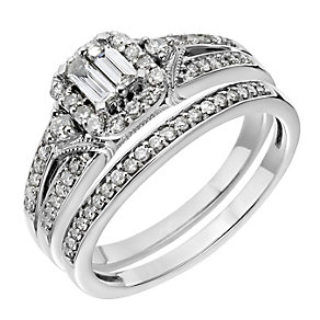 Palladium Half Carat Baguette Cut Diamond Bridal Set - Product number 2027526