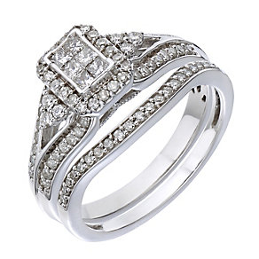Perfect Fit 18ct White Gold Half Carat Diamond Bridal Set - Product number 2027895