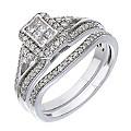 18ct White Gold Half Carat Diamond Princessa Bridal Set - Product number 2027895