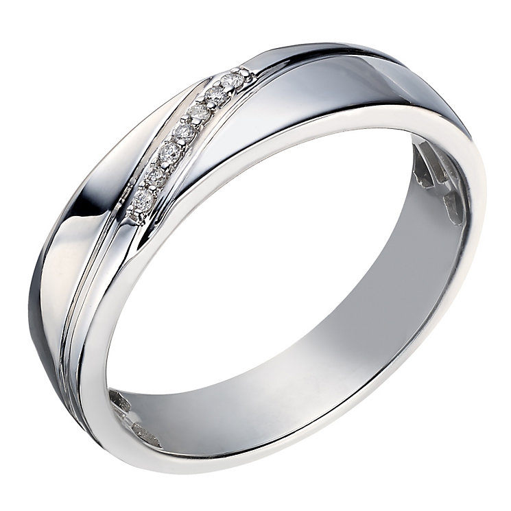 Perfect Fit Men's 9ct White Gold Diamond Wedding Ring - Product number 2028832