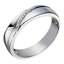 9ct White Gold Men's Diamond Perfect Fit Wedding Ring - Product number 2028832