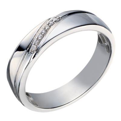 Perfect Fit Mens 9ct White Gold Diamond Wedding Ring HSamuel