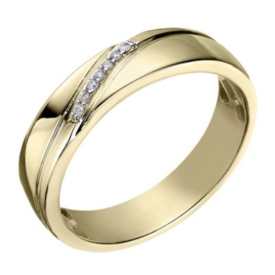 Perfect Fit Mens 9ct Yellow Gold Diamond Wedding Ring HSamuel
