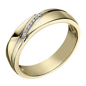 Perfect Fit Men's 9ct Yellow Gold Diamond Wedding Ring - Product number 2029022