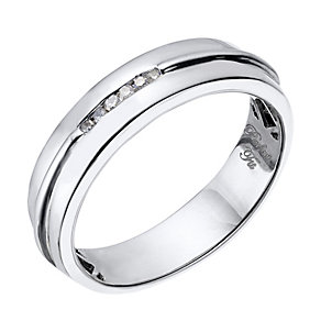 Perfect Fit Men's 9ct White Gold & Diamond Wedding Ring - Product number 2029189