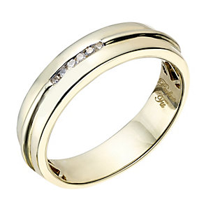 Perfect Fit Men's 9ct Yellow Gold & Diamond Wedding Ring - Product number 2029340