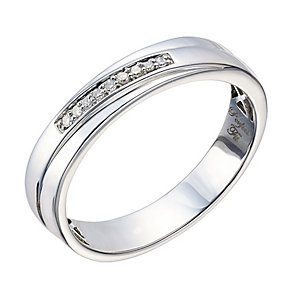 Perfect Fit Men's Palladium & Diamond Wedding Ring - Product number 2029502