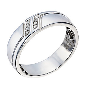 Perfect Fit Men's Palladium Diamond Set Wedding Ring - Product number 2029677
