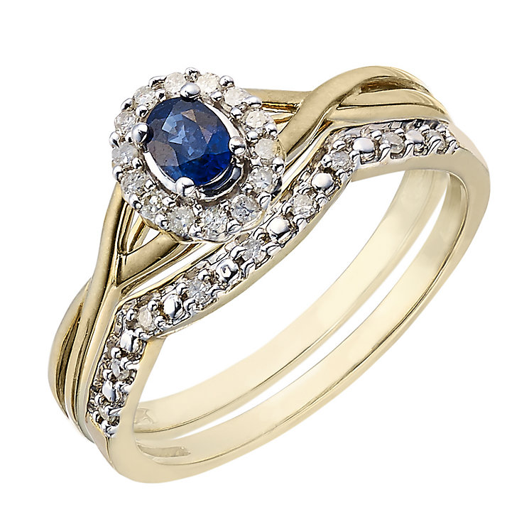 Perfect Fit 9ct Yellow Gold Sapphire & Diamond Bridal Set - Product number 2029839