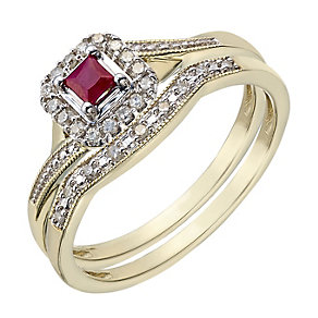 Perfect Fit 9ct Yellow Gold Ruby & Diamond Bridal Set - Product number 2029987