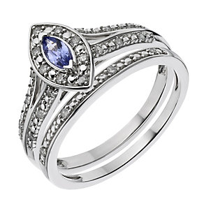 9ct White Gold Tanzanite & Diamond Marquis Bridal Set - Product number 2030136