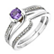 Perfect Fit 9ct White Gold Amethyst & Diamond Bridal Set - Product number 2030268