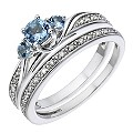 9ct White Gold Diamond & Aquamarine Three Stone Bridal Set - Product number 2030381