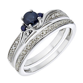 9ct White Gold Diamond & Sapphire Three Stone Bridal Set - Product number 2030527