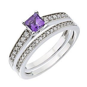 Perfect Fit 9ct White Gold Diamond & Amethyst Bridal Set - Product number 2030659