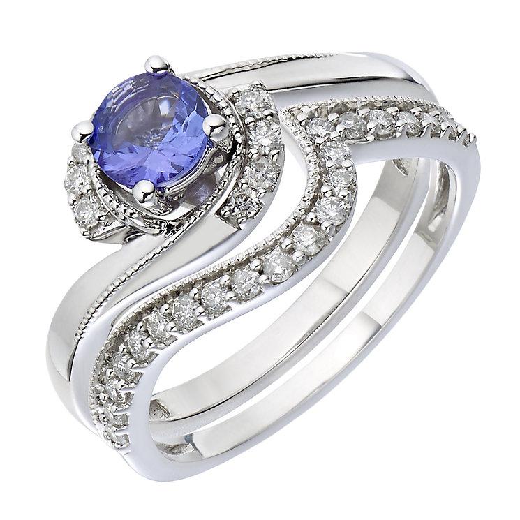 9ct White Gold Diamond & Tanzanite Twist Bridal Set - Product number 2030780