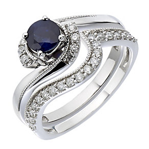 9ct White Gold Diamond & Sapphire Twist Bridal Set - Product number 2030934
