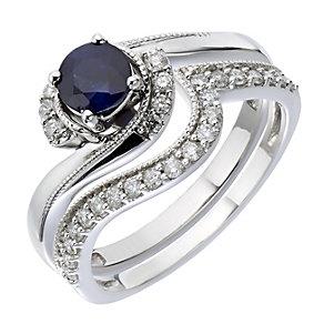 9ct White Gold Diamond & Sapphire Twist Bridal Set - Product number 2030934