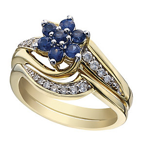 9ct Yellow Gold Diamond & Sapphire Flower Bridal Set - Product number 2031051