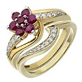 Perfect Fit 9ct Yellow Gold Diamond & Ruby Flower Bridal Set - Product number 2031183