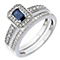 9ct White Gold Diamond & Sapphire Vintage Bridal Set - Product number 2031310