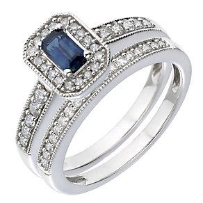 9ct White Gold Diamond & Sapphire Vintage Bridal Set - Product number 2031310