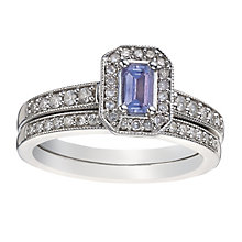 9ct White Gold Diamond & Tanzanite Vintage Bridal Set - Product number 2031469