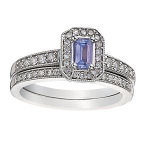 9ct White Gold Diamond & Tanzanite Vintage Bridal Set - Product number 2031469