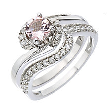 9ct White Gold Diamond & Morganite Twist Bridal Set - Product number 2031604
