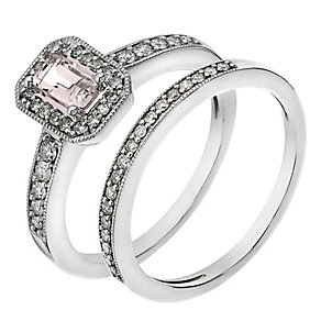 9ct White Gold Diamond & Morganite Vintage Bridal Set - Product number 2031744