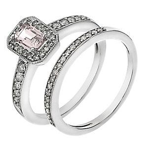 9ct White Gold Diamond & Morganite Vintage Bridal Set - Product number 2031744