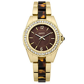 Oasis Ladies' Stone Set Gold-Plated Bracelet Watch - Product number 2032228